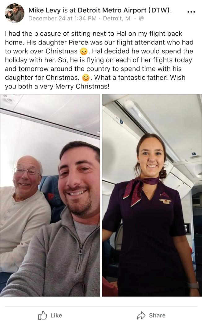 为跟空姐女儿过耶诞 美国老爸这样做