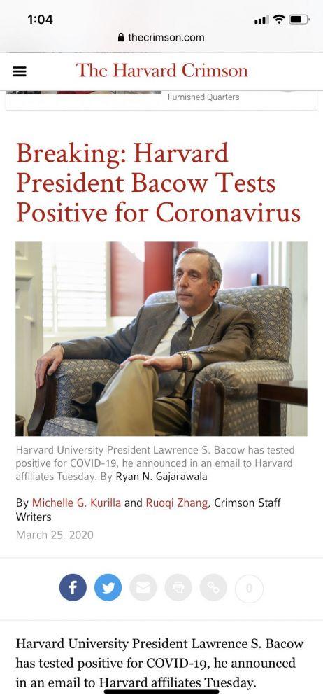 美国总确诊数破五万 哈佛大学校长确诊