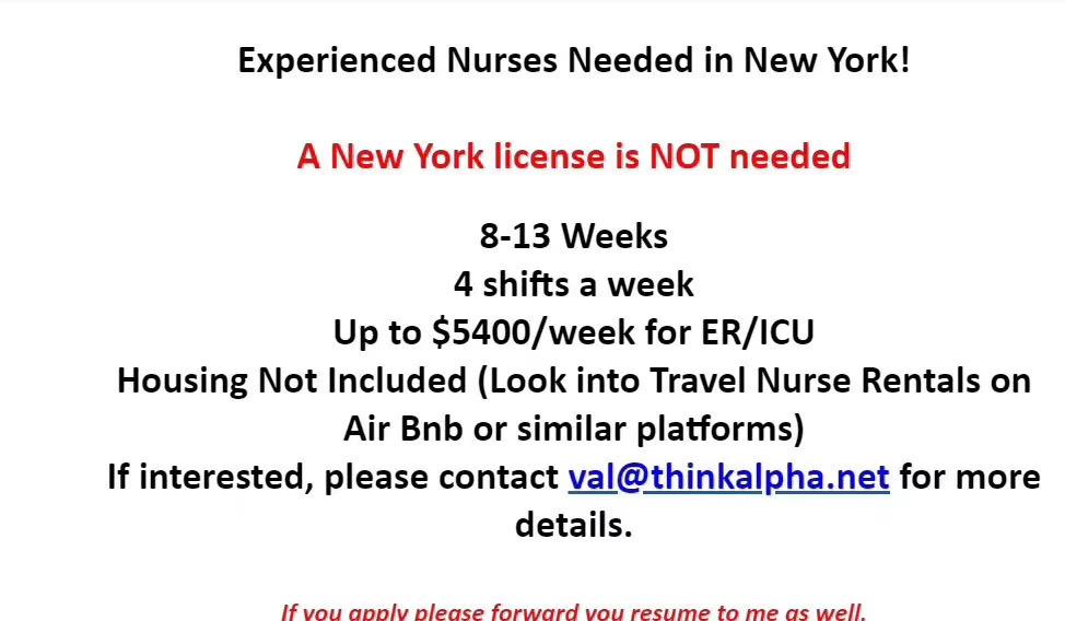 纽约急招护士 薪水达到7000美金一周