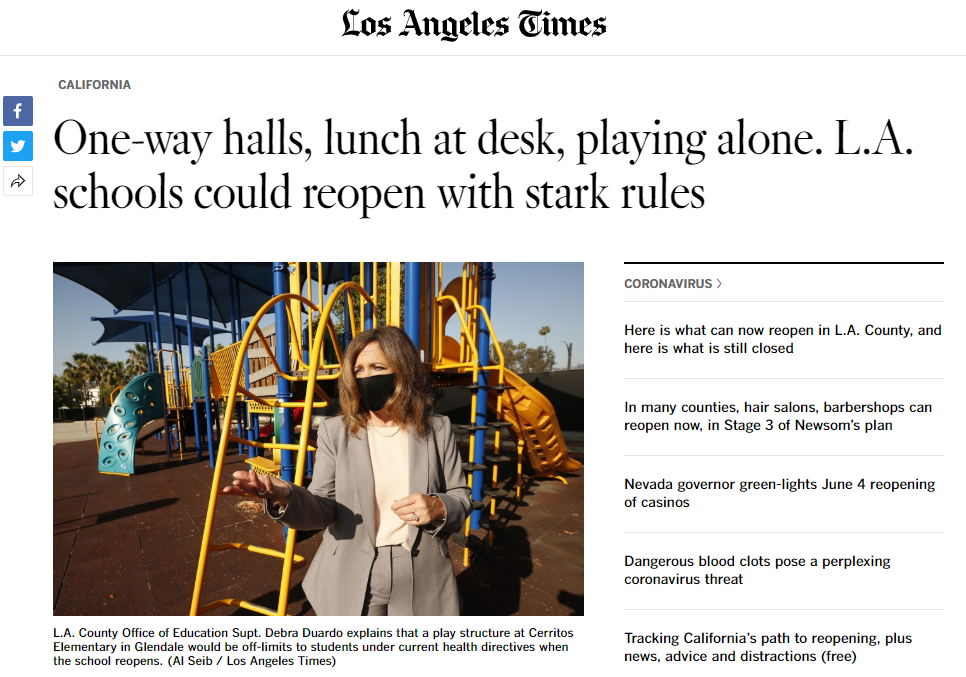 洛杉矶宣布学校重开计划:进校量体温、每间教室最多16名学生……