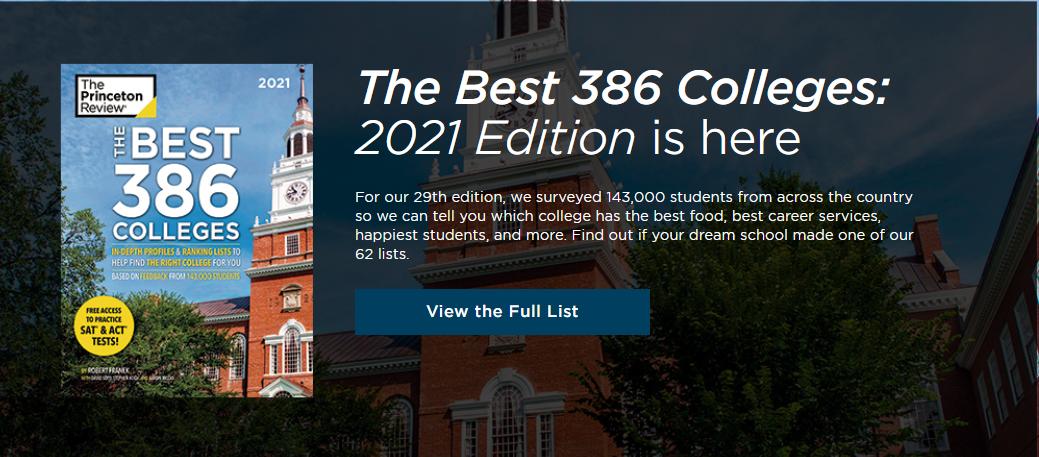 2021《普林斯顿评论》最佳大学排名发布!